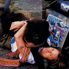Viggo Mortensen with dog, by Bruce Weber from Vanity Fair April 1998