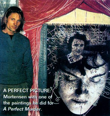 Viggo Mortensen with Perfect Murder painting, by Lindsey Brice