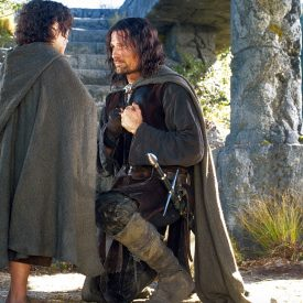 Aragorn (Viggo Mortensen) and Frodo (Elijah Wood) in The Fellowship of the RIng (Lord of the Rings)