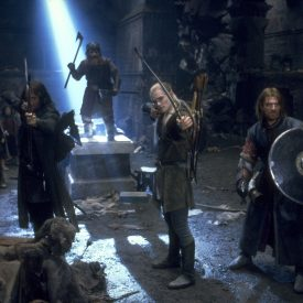 Aragorn, Legolas, Boromir, and the rest of the Fellowship in Moria
