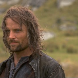 Aragorn (Viggo Mortensen) en route to Rivendell in The Fellowship of the RIng (Lord of the Rings)