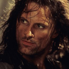 Aragorn (Viggo Mortensen) in fighting mode in The Fellowship of the RIng (Lord of the Rings)