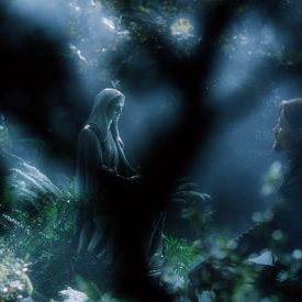 Aragorn (Viggo Mortensen) visits his mother's gravesite in Rivendell
