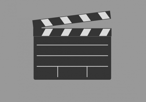 clapboard represents movie in production