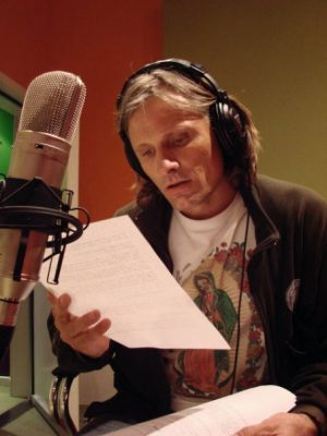 Viggo Mortensen recording the narration for The Path of the Condor
