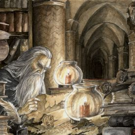 Gandalf in the archives of Minas Tirith by Anke Eissmann