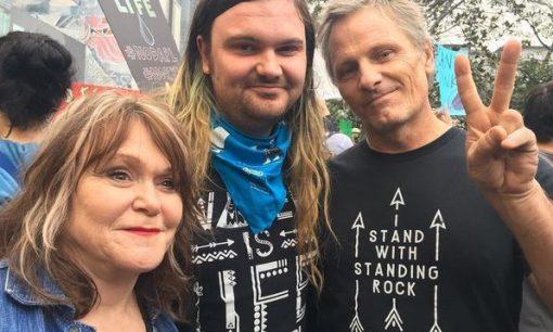 Exene Cervenka, Henry Mortensen, & Viggo Mortensen supporting Standing Rock Reservation