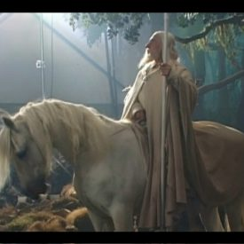 Ian McKellen as Gandalf astride Shadowfax, behind the scenes