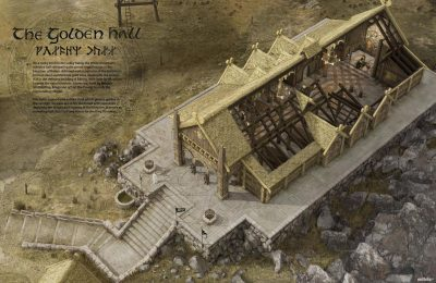 3D reconstruction of the Golden Hall at Meduseld, built by Brego, king of Rohan