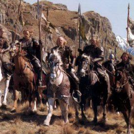 Legolas, Gamling, Théoden, Éomer, Aragorn, and the Rohirrim