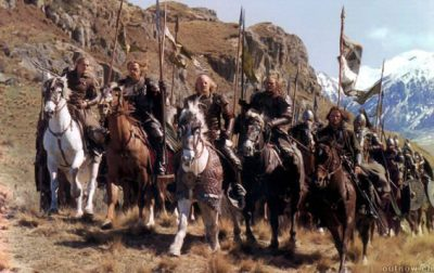 Legolas, Gamling, Théoden, Éomer, Aragorn, and the Rohirrim