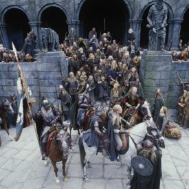 Legolas, Gimli, Theoden, people of Rohan in The Two Towers