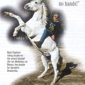 Blanco, playing Shadowfax, with Gandalf's stunt double